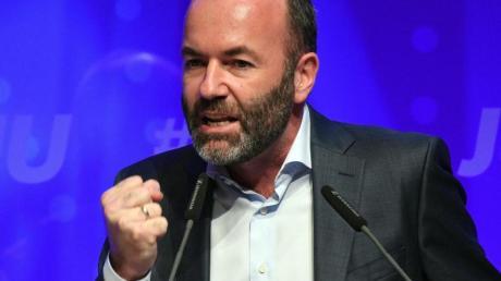 CSU-Europapolitiker Manfred Weber spricht beim Deutschlandtag der Jungen Union am 13. Oktober 2019 in Saarbrücken.