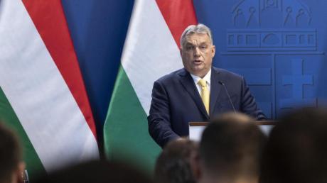 Viktor Orban bei einer Pressekonferenz in Budapest.