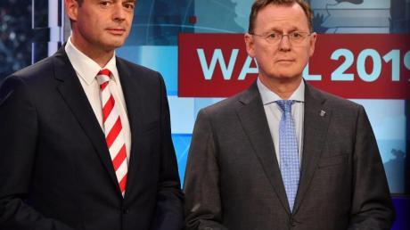 Thüringens CDU-Chef Mike Mohring (l) und Linke-Ministerpräsident Bodo Ramelow in Erfurt.