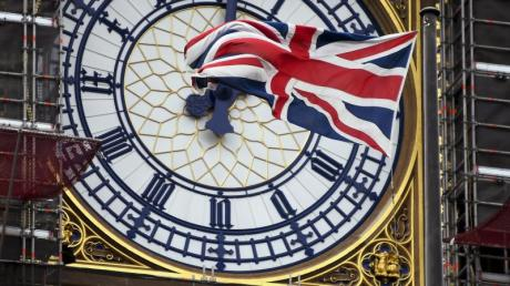 Er soll den Brexit einläuten: Der Big Ben mit einem Union Jack am Zifferblatt.
