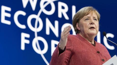 «Der Preis des Nichthandelns ist viel höher als der Preis des Handelns.»: Bundeskanzlerin Angela Merkel spricht beim Weltwirtschaftsforum in Davos.
