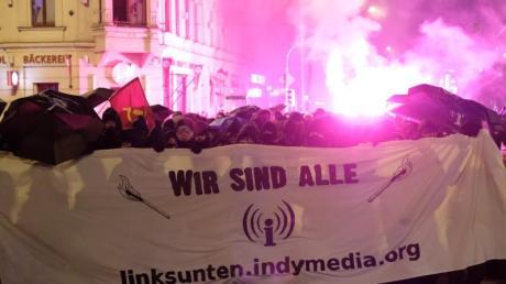 Anlass der Demonstration ist ein anstehender Prozess um die Plattform vor dem Bundesverwaltungsgericht inLeipzig.