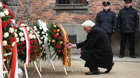Bundespräsident Frank-Walter Steinmeier legt bei der Gedenkfeier zum 75. Jahrestag der Befreiung von Auschwitz einen Kranz nieder.