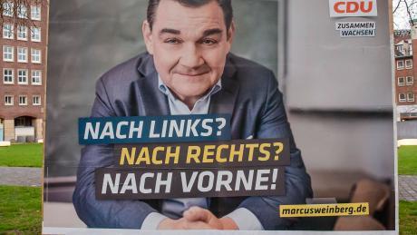 Thüringer Dilemma auch im Hamburger CDU-Wahlkampf: Plakat von Spitzenkandidat Marco Weinberg.