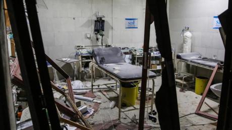 Das Shami-Krankenhaus in der Provinz Idlib, nachdem es Ziel von einem Luftangriff war.