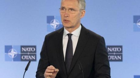 Nato-Generalsekretät Jens Stoltenber während einer Pressekonferenz im Hauptquartier der Allianz.