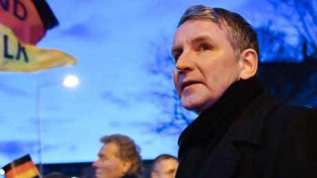 Björn Höcke, Fraktionschef der AfD im Thüringer Landtag, bei einer Demonstration Anfang März in Erfurt.