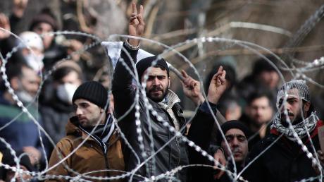 Flüchtlinge an der türkisch-griechischen Grenze.
