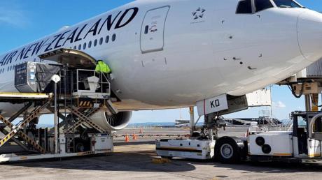 Ein Flugzeug der Air New Zealand vor dem Abflug nach Frankfurt am Main am Flughafen von Auckland.
