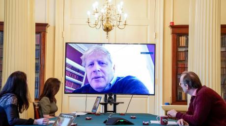 Da war er längst in Isolation: Der britische Premierminister Boris Johnson Ende März bei dermorgendlichen Konferenz zum Thema Coronavirusin der Downing Street.