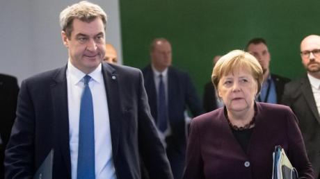 CSU-Chef Markus Söder (r.) und Bundeskanzlerin Angela Merkel.
