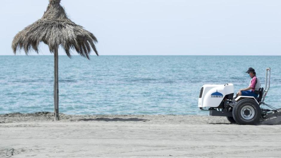 EinStrand in Italien kurz vor der Wiederöffnung im Sommer.