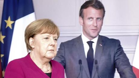 Angela Merkel auf dem Weg zu einer Pressekonferenz mit Frankreichs Präsident Emmanuel Macron (per Video zugeschaltet).