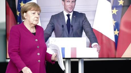 Bundeskanzlerin Angela Merkel (CDU) und Frankreichs Präsident Emmanuel Macron während ihrer Pressekonferenz am vergangenen Montag.