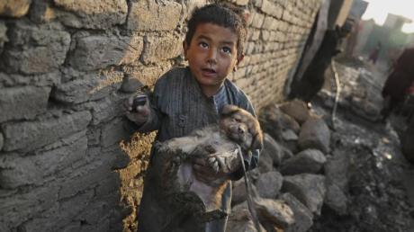 Ein kleiner Junge mit einemWelpen in einem Lager für Binnenvertriebene in Kabul.
