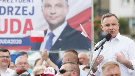 Andrzej Duda, Präsident von Polen und Kandidat für das Amt des Präsidenten der PiS, spricht bei einer Wahlkampfveranstaltung. Die Präsidentschaftswahlen finden am 28.6.2020 statt.