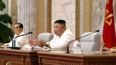 Kim Jong Un während einer Sitzung des Politbüros in Pjöngjang.