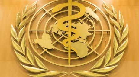 Das Logo der Weltgesundheitsorganisation im europäischen Hauptquartier der Vereinten Nationen in Genf.