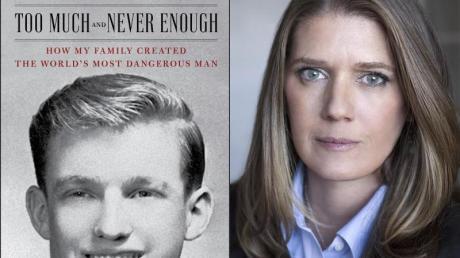 Donald Trumps Nichte Mary Trump neben ihrem Enthüllungsbuch «Too Much and Never Enough: How My Family Created the World's Most Dangerous Man» («Zu viel und nie genug - Wie meine Familie den gefährlichsten Mann der Welt geschaffen hat»).
