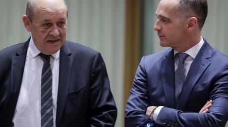 Bundesaußenminister Heiko Maas und sein französischer Amtskollege Jean-Yves Le Drian beim EU-Außenminister-Treffen inBrüssel.