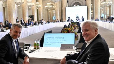 Der österreichische Innenminister Nehammer und Bundesinnenminister Seehofer bei der «Ministerkonferenz zur Bekämpfung illegaler Migration an den östlichen Mittelmeerrouten».