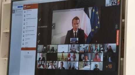 Frankreichs Präsident Emmanuel Macron bei der internationalen Geberkonferenz für den Libanon.