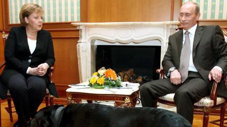 Nur einer hier ist hier entspannt. Merkel und Putin samt Hund im Jahr 2007.