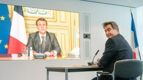 Präsident trifft Ministerpräsident: Emmanuel Macron und Markus Söder während ihrer Videokonferenz.