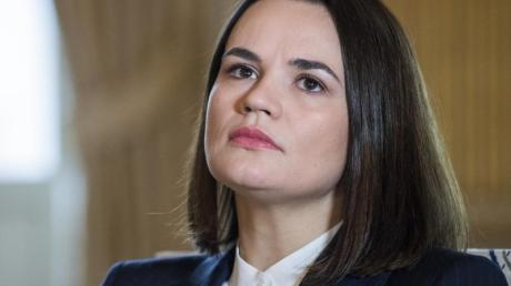 Swetlana Tichanowskaja, Oppositionspolitikerin in Belarus, bei einem Gespräch in Stockholm.