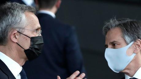 Wie geht es in Afghanistan weiter? Nato-Generalsekretär Jens Stoltenberg im Gespräch mit US-Außenminister Antony Blinken.