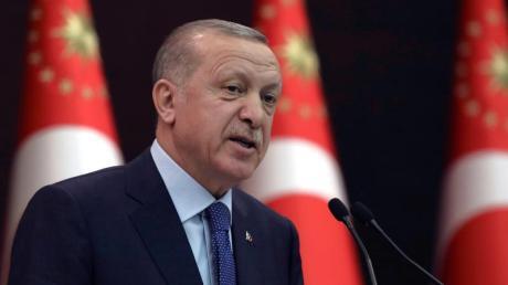 Recep Tayyip Erdogan, Präsident der Türkei, während einer Pressekonferenz.