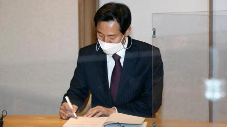 Oh Se Hoon, Kandidat für die Bügermeisterwahl in Seoul, gewinnt die Nachwahlen für die oppositionelle «People Power Party».