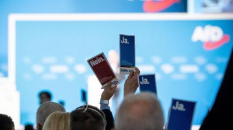 Delegierte heben in der Dresdener Messehalle beim Bundesparteitag der AfD ihre Stimmkarten.