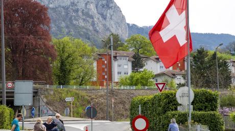 Absperrung an der deutsch-schweizer Grenze wegen Corona.