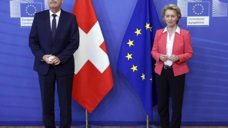EU-Kommissionspräsidentin Ursula von der Leyen empfängt den Schweizer Bundespräsidenten Guy Parmelin in Brüssel.