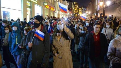 Protest für Alexej Nawalny in Moskau.