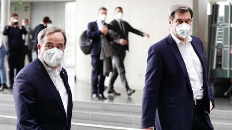 CDU-Chef und Unions-Kanzlerkandidat Armin Laschet (r.) zusammen mit Markus Söder.