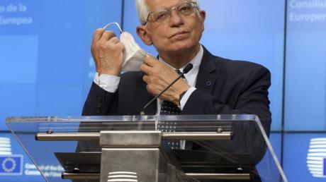 Der EU-Außenbeauftragte Josep Borrell während einer Pressekonferenz.