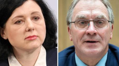 Von dem russischen Einreiseverbot betroffen sind (von links): Vera Jourova, Vizepräsidentin der EU-Kommission, Jörg Raupach, Leitender Oberstaatsanwalt in Berlin, und David Sassoli, Präsident des Europäischen Parlaments.