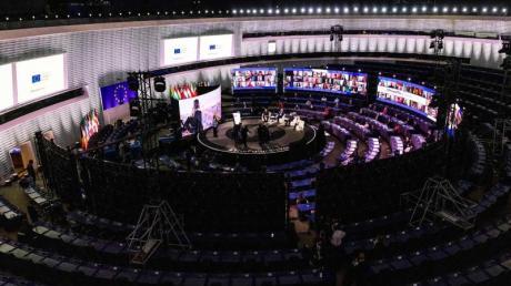 Blick in die Eröffnungsveranstaltung der Konferenz zur Zukunft Europas im Plenarsaal des Europäischen Parlaments inStraßburg.