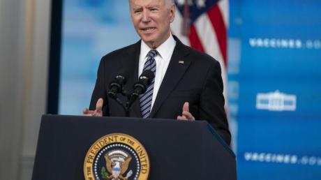 US-Präsident Joe Biden hält eine Rede über Corona-Impfungen im South Court Auditorium im Weißen Haus.