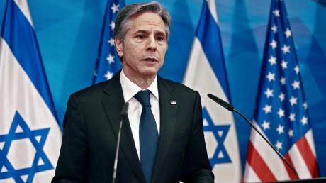 Antony Blinken während einer Pressekonferenz in Jerusalem.