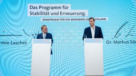 CDU-Chef Armin Laschet und CSU-Chef Markus Söder stellen das Programm für die Bundestagswahl vor.