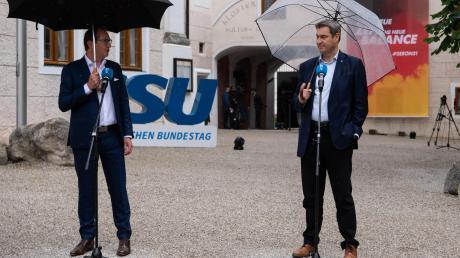 CSU-Landesgruppenchef Alexander Dobrindt (links) und der Parteivorsitzende Markus Söder fühlten sich von Armin Laschet nicht im Stich gelassen.