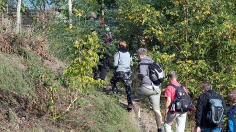 Die von Wanderführer Manfred Reschke geleitete Gruppe geht vom Ufer der Warthe in Richtung Stadt. Foto: Soeren Stache/zb/dpa
