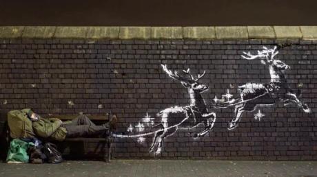 """Ein neues Banksy-Kunstwerke mit dem Titel """"God Bless Birmingham"""" (""""Gott segne Birmingham"""")ist in der Vyse Street in Birmingham aufgetaucht."""