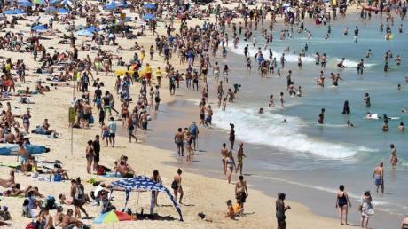 Strandbesucher liegen am Bondi Beach und genießen das sonnige Wetter.