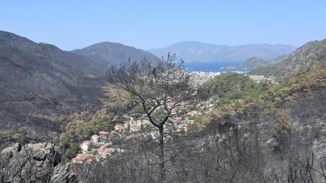 In der bei Touristen beliebten Region Marmaris hat das Feuer ganze Landstriche verbrannt zurückgelassen.
