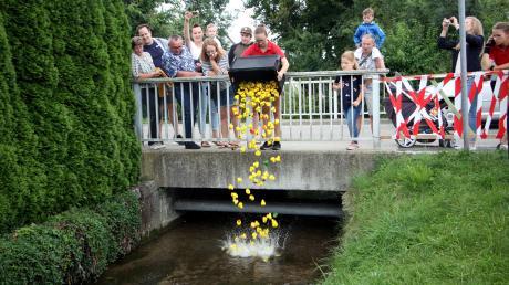 Franziska Kastl lässt die 165 Badeenten zu Wasser.