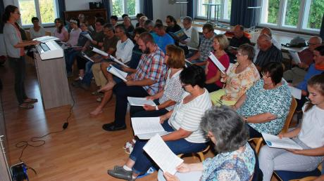 """Schon seit Jahresbeginn probt der Projektchor in Scherstetten unter der Leitung von Katharina Schwaller für das Singspiel """"Erdreich - Himmelreich""""."""
